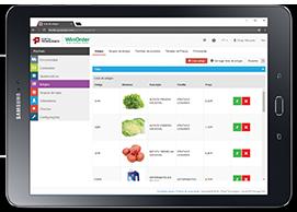 Ecrã do backoffice do WinOrder - gestão de produtos