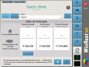 Ecrã do Track in Time no software de ponto de venda